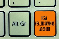 A escrita do texto da escrita tem a conta poupança da saúde O significado do conceito suplementa um s é cobertura de seguro atual ilustração stock