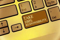 A escrita do texto da escrita toma a 100 a responsabilidade O significado do conceito seja responsável para a lista de objetos da Imagens de Stock