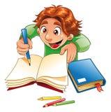Escrita e desenho do menino Foto de Stock