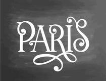 Escrita francesa do quadro-negro do quadro da frase do giz de Paris france Texto Handdrawn, giz em um quadro-negro, vetor Foto de Stock