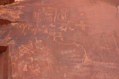 Escrita indiana do nativo americano na rocha Foto de Stock Royalty Free