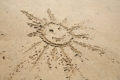 Escrita na areia na praia Imagem de Stock Royalty Free
