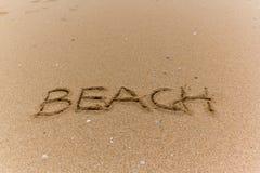 Escrita na praia Fotografia de Stock