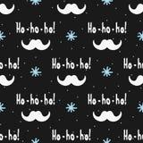 ` Escrito à mão do texto Ho-ho-ho! `, bigode de Santa Claus e flocos de neve pintados com escova Teste padrão sem emenda Foto de Stock Royalty Free
