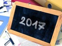 2017 escrito à mão em um quadro 3d Imagens de Stock