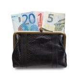 2015 escrito com cédulas dos euro em uma bolsa Imagem de Stock