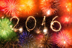 2016 escrito com fogos-de-artifício como um fundo Imagem de Stock Royalty Free