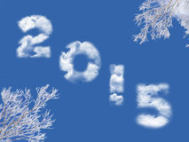 2015 escrito com nuvens Imagens de Stock