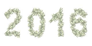 2016 escrito con 100 dólares de billetes de banco aislados en blanco Imagen de archivo libre de regalías