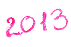 2013 escrito con el lápiz labial Fotos de archivo