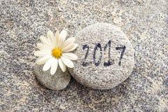 2017 escrito em um fundo de pedra Fotografia de Stock Royalty Free