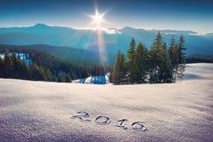 2016 escrito em uma neve fresca Imagens de Stock