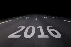 2016 escrito en el asfalto Imagen de archivo libre de regalías