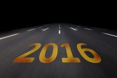 2016 escrito en el asfalto Fotografía de archivo