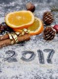 2017 escrito en la harina Fotos de archivo libres de regalías