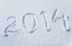 2014 escrito en nieve Imágenes de archivo libres de regalías
