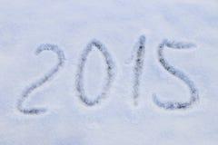 2015 escrito en nieve Imagen de archivo libre de regalías