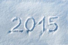 2015 escrito en nieve Fotos de archivo libres de regalías