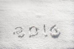 2016 escrito en nieve Fotos de archivo libres de regalías