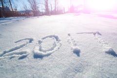 2017 escrito en rastro de la nieve Imagen de archivo libre de regalías