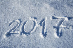 2017 escrito en rastro de la nieve Imagenes de archivo