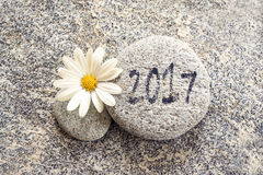 2017 escrito en un fondo de piedra Fotografía de archivo libre de regalías