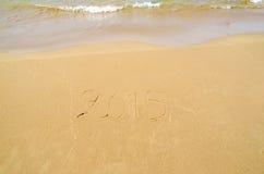 2015 escrito na areia Foto de Stock