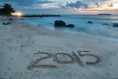 2015 escrito na areia Fotografia de Stock