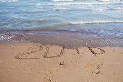 2016 escrito na areia Imagens de Stock