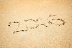 2016 escrito na areia Fotos de Stock Royalty Free