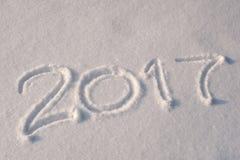 2017 escrito na neve Fotografia de Stock