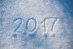 2017 escrito na neve Fotos de Stock