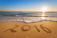 Escrito 2016 na praia Fotografia de Stock
