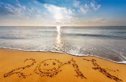 Escrito 2017 na praia Imagens de Stock Royalty Free