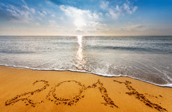 Escrito 2017 na praia Fotografia de Stock