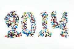2014 escrito por el confeti Imágenes de archivo libres de regalías