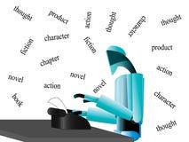 Escritor del robot en la tabla Imagenes de archivo