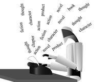 Escritor del robot en la tabla Fotos de archivo