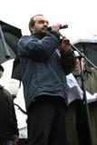 Escritor satírico Viktor Shenderovich en la reunión adentro fotografía de archivo libre de regalías