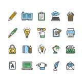 Escritor y línea fina sistema del color de las muestras de Copywriting del icono Vector Imagenes de archivo