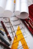 Escritorio arquitectónico Imagen de archivo libre de regalías
