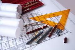 Escritorio arquitectónico Fotografía de archivo libre de regalías
