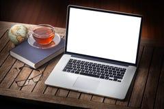 Escritorio casero del ordenador Fotografía de archivo libre de regalías