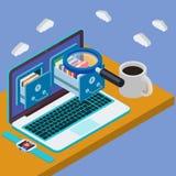 Escritorio con el ordenador portátil 3d Servidor del almacenamiento de la base de datos Fotografía de archivo libre de regalías