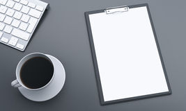 Escritorio con el papel en blanco Imágenes de archivo libres de regalías