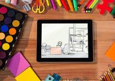 escritorio con la tableta y las herramientas de dibujo En la tableta un drenaje de una oficina fotos de archivo