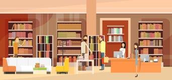Escritorio de efectivo interior de la mujer de las ventas de los clientes de la librería de la librería libre illustration