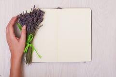 Escritorio de la lavanda en mofa de la opinión superior del fondo para arriba Abra el sketchbook Cuaderno Foto de archivo libre de regalías