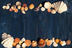 Escritorio de madera con las cáscaras del mar foto de archivo libre de regalías