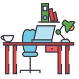 Escritorio de oficina, lugar de trabajo, concepto del espacio de trabajo Stock de ilustración